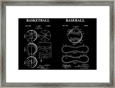 Baseball And Basketball Patent Framed Print