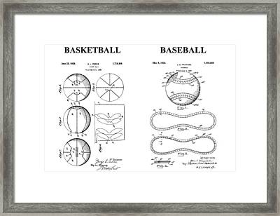 Baseball And Basketball Patent Drawing Framed Print by Dan Sproul