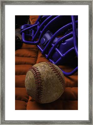 Baseball And Catchers Mask Framed Print by Garry Gay