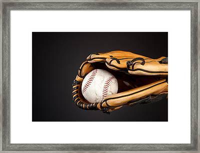 Baseball And Glove Framed Print by Joe Belanger