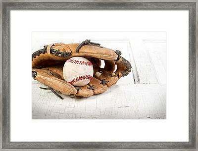 Baseball And Mitt Framed Print by Jennifer Huls