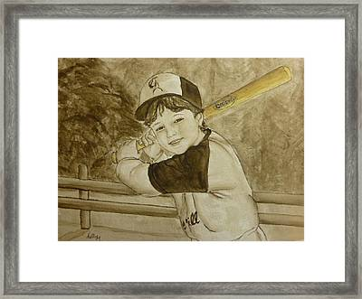 Framed Print featuring the painting Baseball At It's Best by Kelly Mills