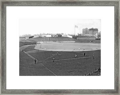 Baseball At Yankee Stadium Framed Print by Underwood Archives