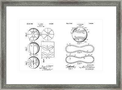 Baseball Basketball Patent Illustration Framed Print