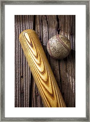 Baseball Bat And Ball Framed Print by Garry Gay