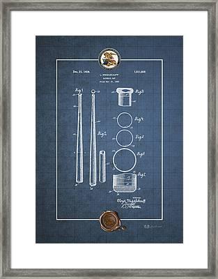 Baseball Bat By Lloyd Middlekauff - Vintage Patent Blueprint Framed Print