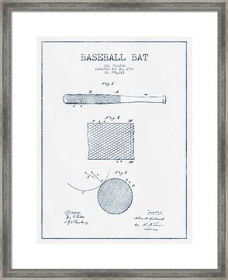 Baseball Bat Patent Drawing From 1904 - Blue Ink Framed Print