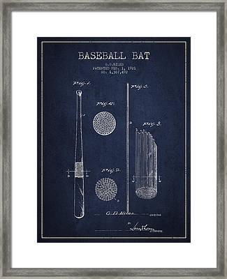 Baseball Bat Patent Drawing From 1921 Framed Print