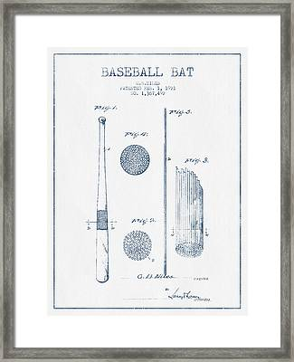 Baseball Bat Patent Drawing From 1921 - Blue Ink Framed Print by Aged Pixel
