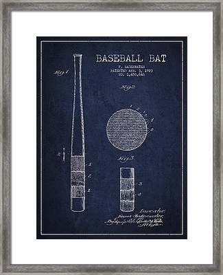 Baseball Bat Patent Drawing From 1923 Framed Print