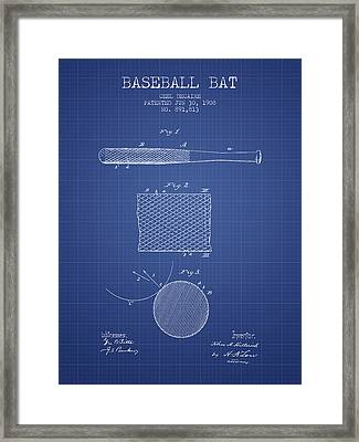 Baseball Bat Patent From 1908 - Blueprint Framed Print by Aged Pixel