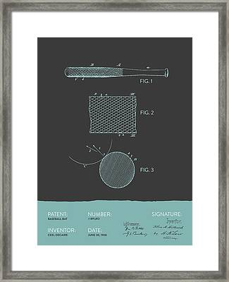 Baseball Bat Patent From 1908 - Gray Blue Framed Print by Aged Pixel