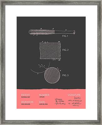 Baseball Bat Patent From 1908 - Gray Salmon Framed Print