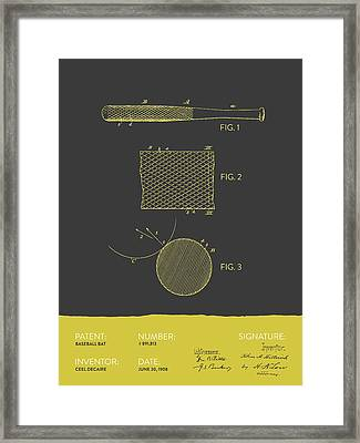 Baseball Bat Patent From 1908 - Gray Yellow Framed Print by Aged Pixel