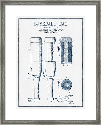 Baseball Bat Patent From 1919 - Blue Ink Framed Print by Aged Pixel