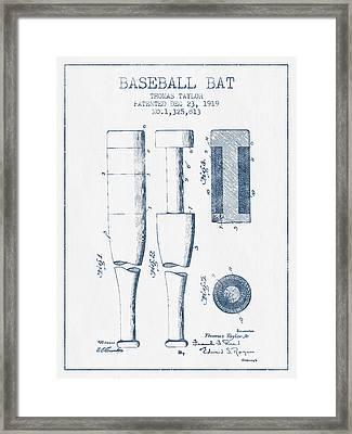 Baseball Bat Patent From 1919 - Blue Ink Framed Print