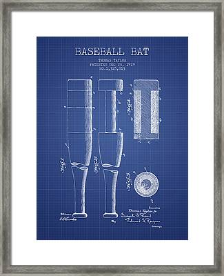Baseball Bat Patent From 1919 - Blueprint Framed Print by Aged Pixel