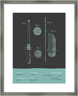 Baseball Bat Patent From 1921 - Gray Blue Framed Print by Aged Pixel