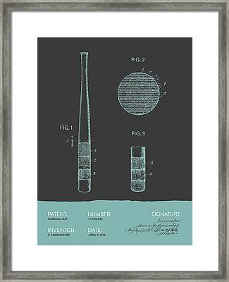 Baseball Bat Patent From 1923 - Gray Blue Framed Print