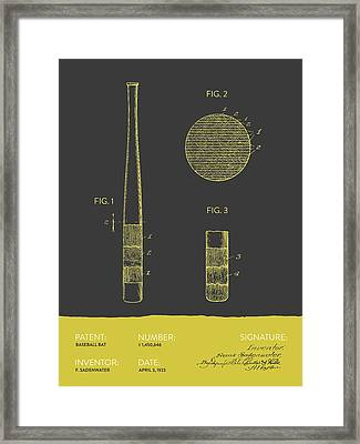 Baseball Bat Patent From 1923 - Gray Yellow Framed Print by Aged Pixel