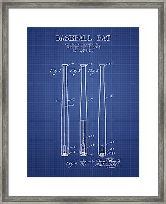Baseball Bat Patent From 1924 - Blueprint Framed Print by Aged Pixel