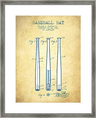 Baseball Bat Patent From 1924 - Vintage Paper Framed Print by Aged Pixel