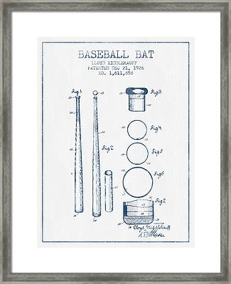 Baseball Bat Patent From 1926 - Blue Ink Framed Print by Aged Pixel
