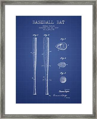 Baseball Bat Patent From 1939 - Blueprint Framed Print by Aged Pixel