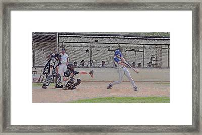 Baseball Batter Contact Digital Art Framed Print by Thomas Woolworth