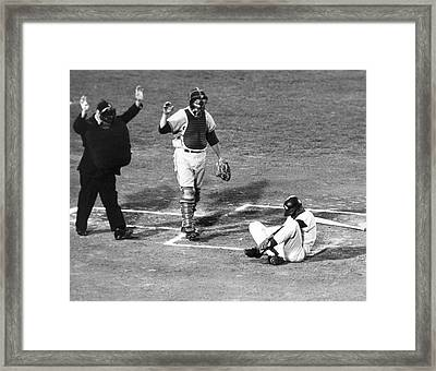 Baseball Batter Hit By Pitch Framed Print by Underwood Archives