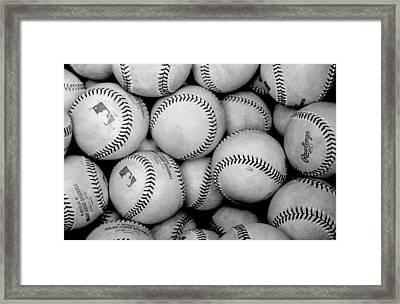 Baseball Black And White Framed Print