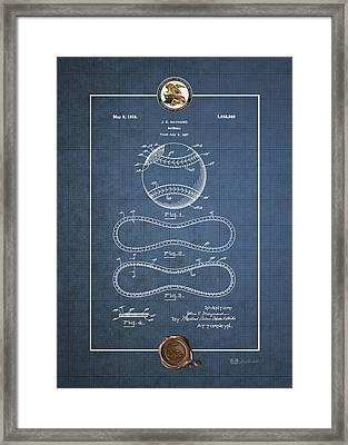Baseball By John E. Maynard - Vintage Patent Blueprint Framed Print