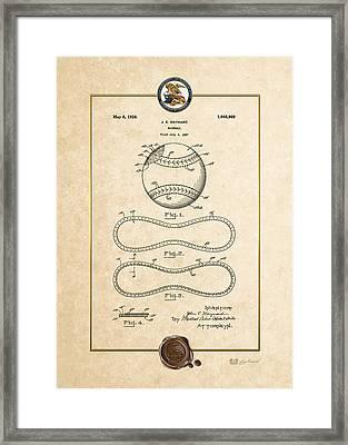 Baseball By John E. Maynard - Vintage Patent Document Framed Print