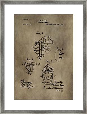 Baseball Catcher's Mask Patent Framed Print