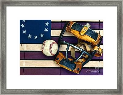Baseball Catchers Mask Vintage On American Flag Framed Print by Paul Ward
