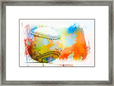 Baseball- Colors- Isolated Framed Print by Kenny Francis