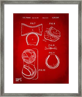 Baseball Construction Patent 2 - Red Framed Print by Nikki Marie Smith