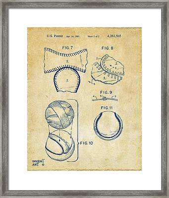 Baseball Construction Patent 2 - Vintage Framed Print by Nikki Marie Smith