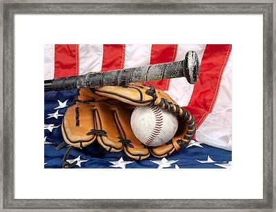 Baseball Equipment On American Flag Framed Print by Joe Belanger