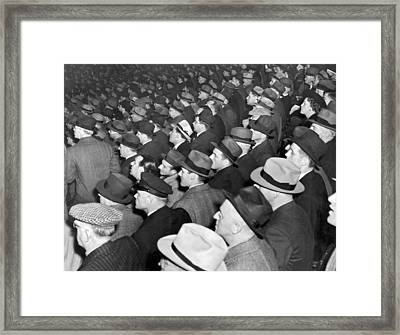 Baseball Fans At Yankee Stadium For The Third Game Of The World Framed Print by Underwood Archives