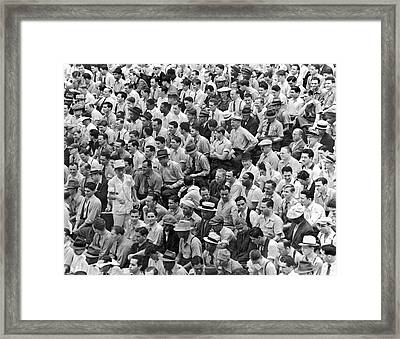 Baseball Fans In The Bleachers At Yankee Stadium. Framed Print by Underwood Archives
