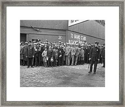 Baseball Fans Waiting In Line To Buy World Series Tickets. Framed Print