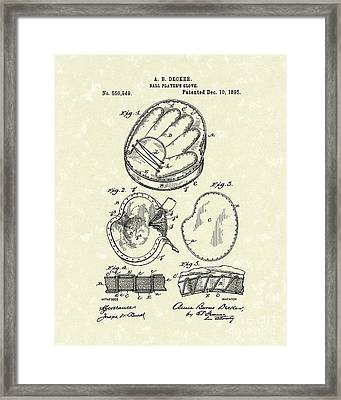 Baseball Glove 1895 Patent Art Framed Print by Prior Art Design