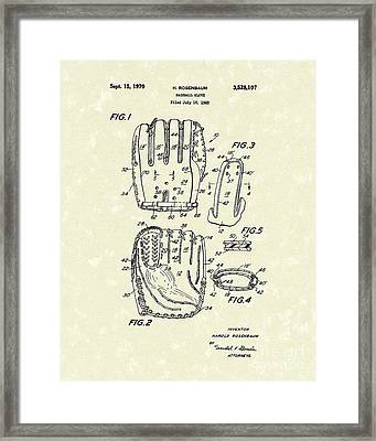 Baseball Glove 1970 Patent Art Framed Print