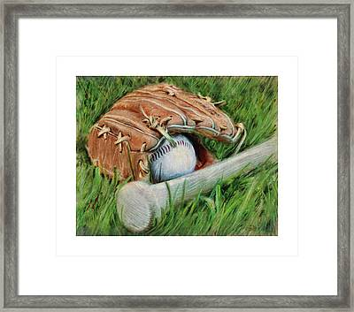 Baseball Glove Bat And Ball Framed Print by Craig Tinder