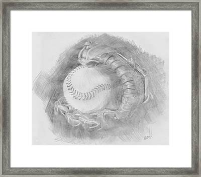 Baseball Glove Framed Print