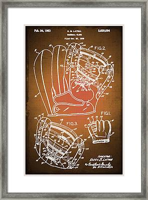 Baseball Glove Patent Blueprint Drawing Sepia Framed Print