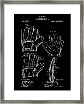 Baseball Glove Patent 1909 - Black Framed Print by Stephen Younts