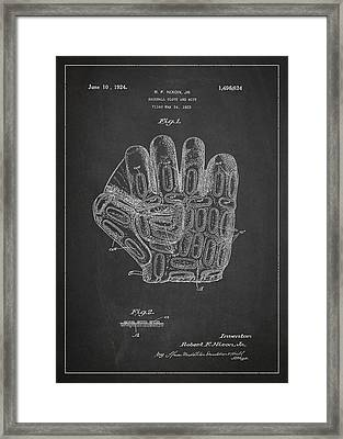 Baseball Glove Patent Drawing From 1923 Framed Print