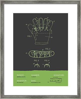 Baseball Glove Patent From 1922 - Gray Green Framed Print by Aged Pixel